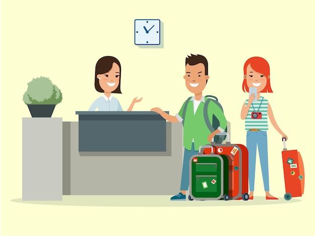 Flaches glückliches junges paar mit gepäck und smartphone in der vektorillustration der hotelrezeption