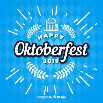 Flaches glückliches oktoberfest 2019 auf blauen schatten
