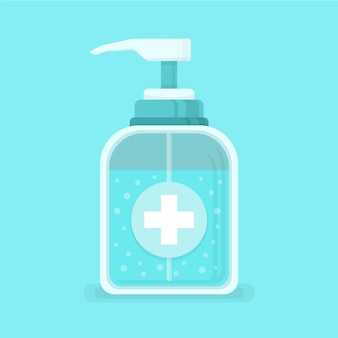 Flaches händedesinfektionsmittel abgebildet