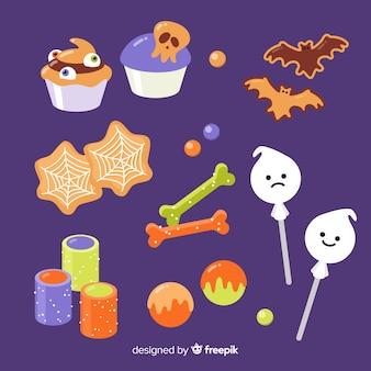 Flaches halloween formt süßigkeitssammlung