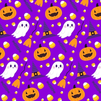 Flaches halloween-musterkonzept