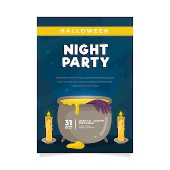 Flaches halloween-partyplakat mit illustrationen