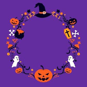 Flaches halloween-rahmenkonzept
