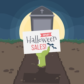 Flaches halloween-verkaufskonzept