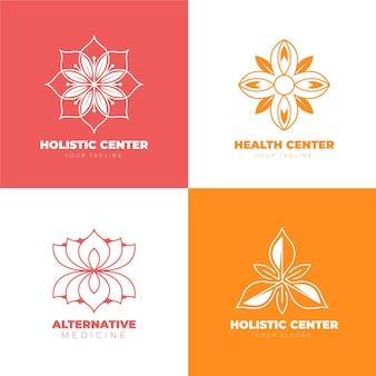 Flaches handgezeichnetes ganzheitliches logoset