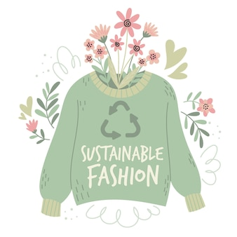 Flaches handgezeichnetes nachhaltiges modekonzept