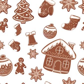 Flaches handgezeichnetes nahtloses muster der lebkuchenhand. mustergestaltung. feiertagsneujahrsweihnachtsarthintergrund.