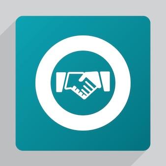 Flaches handshake-symbol, weiß auf grünem hintergrund