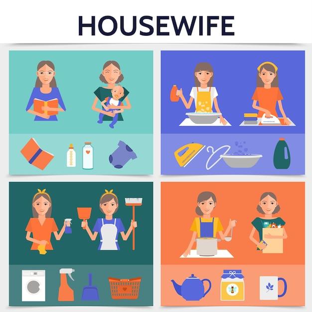 Flaches hausfrauen-lebensquadratkonzept mit der reinigung, die das waschen kocht, bügelt, arbeitet mutter