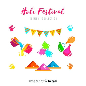 Flaches holi festival element pack