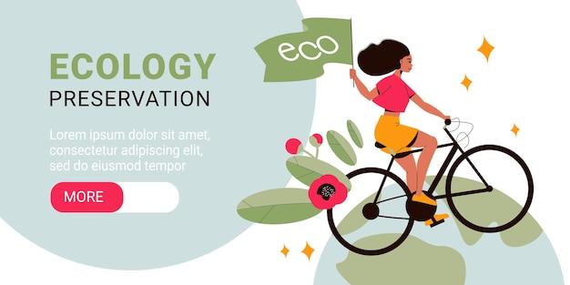 Flaches horizontales banner zur erhaltung der ökologie mit frau, die fahrrad mit blumen und grüner flagge fährt