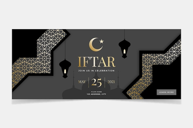 Flaches horizontales iftar-banner