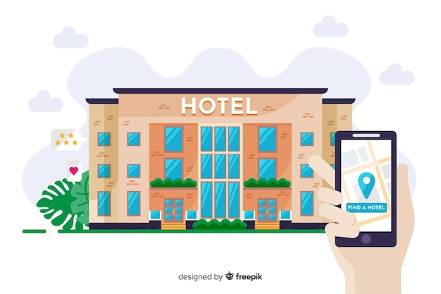 Flaches hotelbuchungskonzept