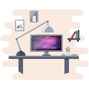 Flaches icon-design für modernes home-office-konzept