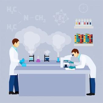 Flaches ikonenplakat der chemielaborforschungs-reagenzgläser