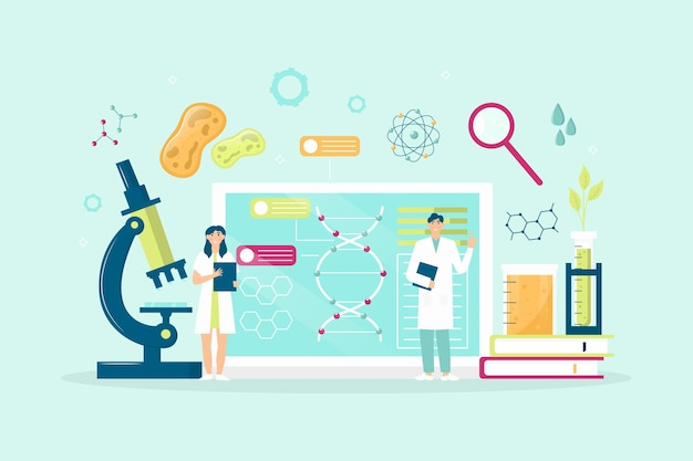 Flaches illustrations-biotechnologiekonzept