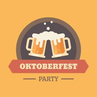 Flaches illustrationsausweis des oktoberfest-bierfestivals