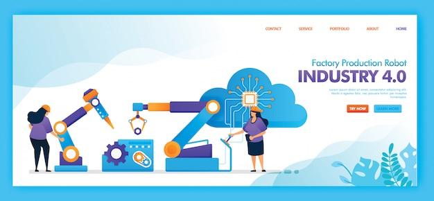 Flaches illustrationsdesign der fabrikproduktionsroboterindustrie 4.0