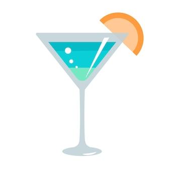 Flaches illustrationsdesign des blauen cocktails lokalisiert
