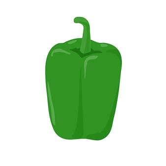 Flaches illustrationsdesign des grünen pfeffers lokalisiert