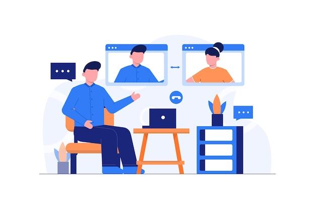 Flaches illustrationsdesign für videoanrufe