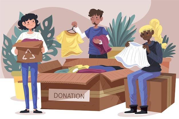 Flaches illustrationskleidungsspendenkonzept