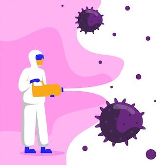 Flaches illustrationskonzept der coronavirus-desinfektion