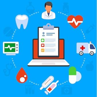 Flaches illustrationskonzept der medizinischen dienstleistungen. laptop mit medizinischen zwischenablage. kreative flache ikonen stellten elemente für netzfahnen, website, infographics ein.