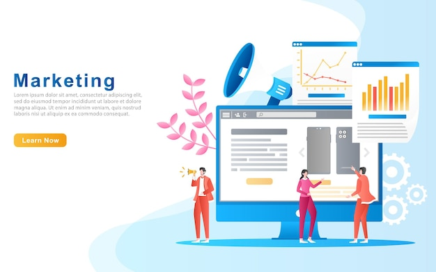 Flaches illustrationsmarketing mit dem konzept des firmenpersonals