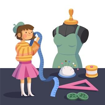 Flaches illustrationsmodedesignerkonzept