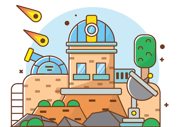 Flaches illustrationsplanetarium, vektorillustrator geeignet für diagramme, infografiken, buchillustrationen, spiele-assets und andere grafisch relevante assets