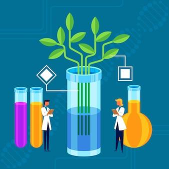 Flaches illustriertes biotechnologiekonzept