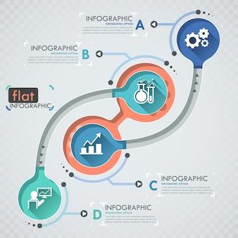 Flaches infographic design mit ikonen für 4 wahlen