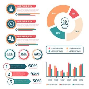 Flaches infographic mit retro- farbkonzept