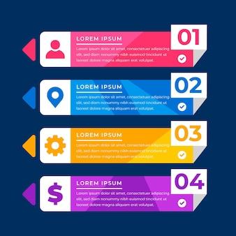 Flaches inhaltsverzeichnis infografik
