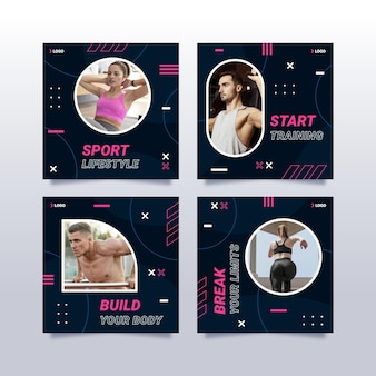 Flaches instagram-post-set für gesundheit und fitness