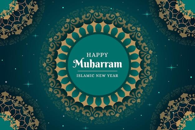 Flaches islamisches neujahrskonzept