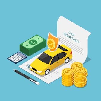 Flaches isometrisches 3d-auto auf versicherungsvertragsdokument mit stiftgeld und taschenrechner. kfz-versicherungskonzept.