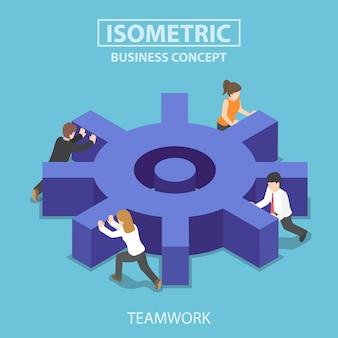 Flaches isometrisches 3d-geschäftsteam, das ein großes zahnrad drückt. teamwork-konzept.
