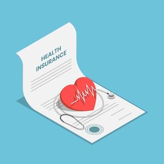 Flaches isometrisches 3d-herz und stethoskop auf krankenversicherungsvertragsdokument. geschäftskonzept der krankenversicherung im gesundheitswesen.