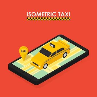 Flaches isometrisches 3d-konzept der mobilen app für die buchung von taxis