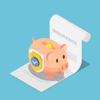 Flaches isometrisches 3d-sparschwein voller geld mit schild auf dem versicherungsdokument. geldschutz- und finanzsparversicherungskonzept.