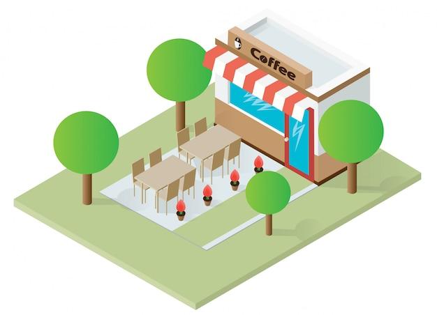 Flaches isometrisches kaffeehausgebäude