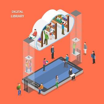 Flaches isometrisches konzept der digital-bibliothek.