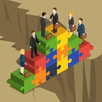 Flaches isometrisches konzept der geschäftspartnerschaftslösung handshake der geschäftsmann-geschäftsfrauen auf puzzleteilpyramide, die über abgrund errichtet wird.