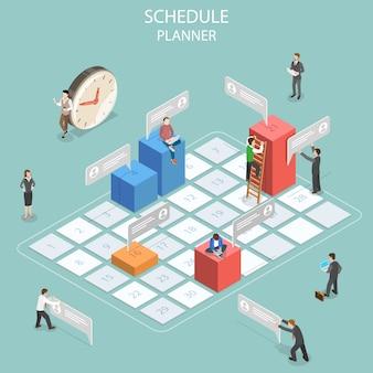 Flaches isometrisches konzept der geschäftsplanung, des zeitplans, des besprechungstermins, der tagesordnung und des wichtigen datums
