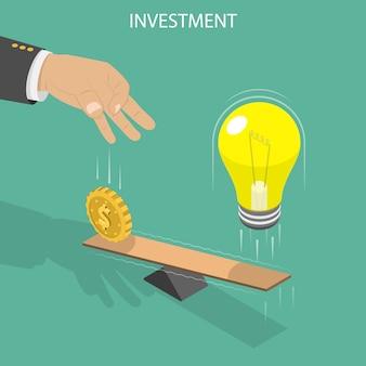Flaches isometrisches konzept der investition.