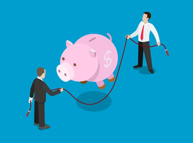 Flaches isometrisches konzept der investitionslösung für finanzkreditdarlehen