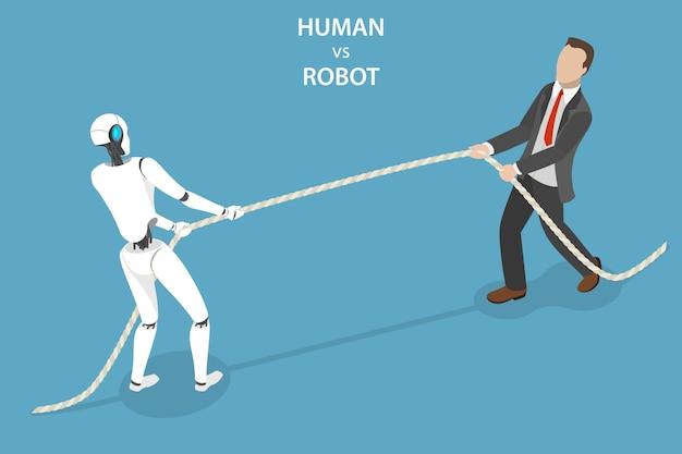 Flaches isometrisches konzept der konkurrenz eines roboters und eines menschen