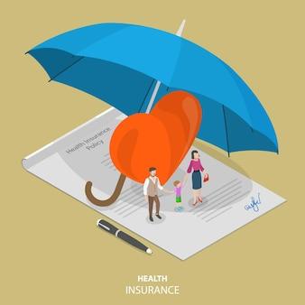Flaches isometrisches konzept der krankenversicherung